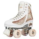 Crazy Skates Glitz Roller Skates for Women and Girls - Dazzling Glitter Sparkle Quad Skates - Rose Gold (Size 1)