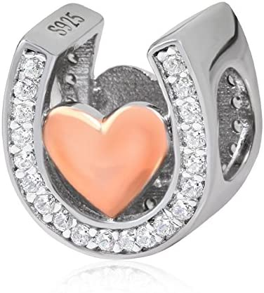 ARTCHARM Horseshoe Lucky Charms-Rose Gold Plated Love Charm Beads Cubic Zirconia Stones fit Women Pandora Bracelets