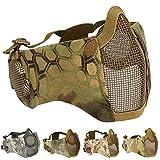 AOUTACC Mascarilla plegable para airsoft, media cara de malla con protección para los oídos Cs War Game, BB Gun, caza, paintball (MA)