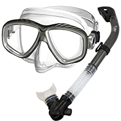 Package includes Promate Pro Slender Purge Mask (MK285) and Cobra Dry Whistle Snorkel (SK680) 2-windows scuba dive (Rx-able) mask with purge function and channeled skirt design. Corrective Lenses available (Slender OP270). Mask buckles on skirt direc...