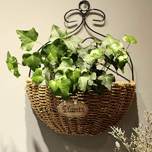 Cesto da appendere a parete Cesto da appendere intessuto a mano naturale Cesto in vimini Cestino fiori per piante giardino per giardino Decorazione da parete per la casa Decorazione della porta