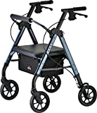 NOVA Star Heavy Duty Bariatric Rollator Walker with Extra Wide Padded Seat, 8' Wheels, Fold Lock Feature, Rolling Walker with Adjustable Seat Height & 450 lbs. Weight Capacity, Blue/Standard