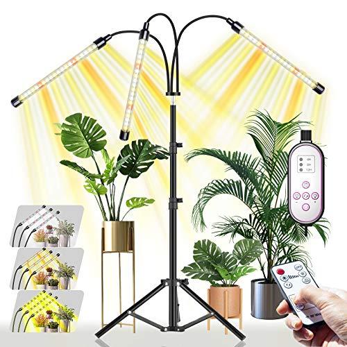 CXhome LED Pflanzenlampe mit Ständer, RF-Fernbedienung & Zeilengesteuerte Timing 4/8/12H, 3 Schaltmodi &10-stufige Helligkeit, Stabiles verstellbar 15.7-43.3 Zoll, Für Zimmerpflanzen