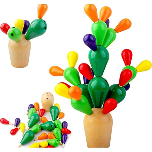 Pixnor Jouets éducatifs pour enfants en bois de Cactus d'équilibrage