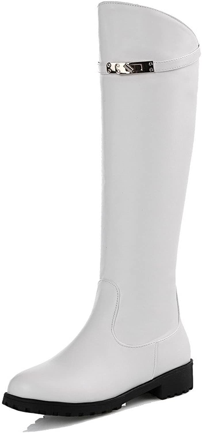 AllhqFashion Women's PU High-top Solid Pull-on Low-Heels Boots