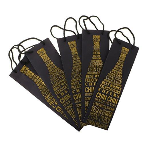 Flaschenbeutel, aus Papier, 5 Stücke Set, Wein Flaschen Beutel, Wein Geschenkbeutel, Buchstabe Muster, 12 x 9 x 39 cm - Gold