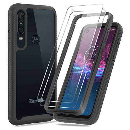 Moto One Action Case, LeYi Moto P40 Power Case with Tempered Glass Screen Protector [2 Pack], Full-Body Protective Hybrid Rugged Clear Shockproof Phone Cover Cases for Motorola One Action, Black