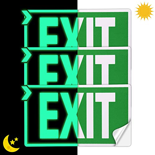 """EXIT Signs Glow In The Dark EXIT Decals 3 Pack 12""""x7"""" EXIT Photoluminescent Signs Stickers, Glows For Up To 8 Hours"""
