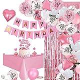 specool Decoración de Cumpleaños Rosa, Pancarta de Feliz Cumpleaños, Globos Rosa, Globos Blancos, Globos Confeti Rosa, Cortina de Flecos Manteles Rosa para Niña