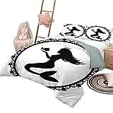 DayDayFun Imprimir Funda nórdica Sirena Juegos de Cama para niños Doble Estilo Vintage Ilustración gráfica de una Princesa Sirena enmarcada con Corona y pez tamaño Queen Negro Blanco