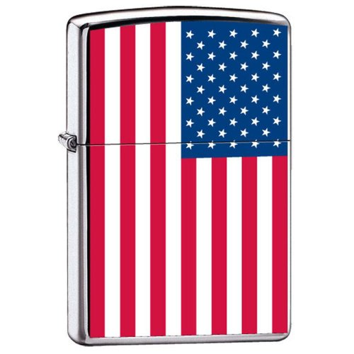 Zippo quotUnited States Flagquot Lighter High Polish Chrome 7959