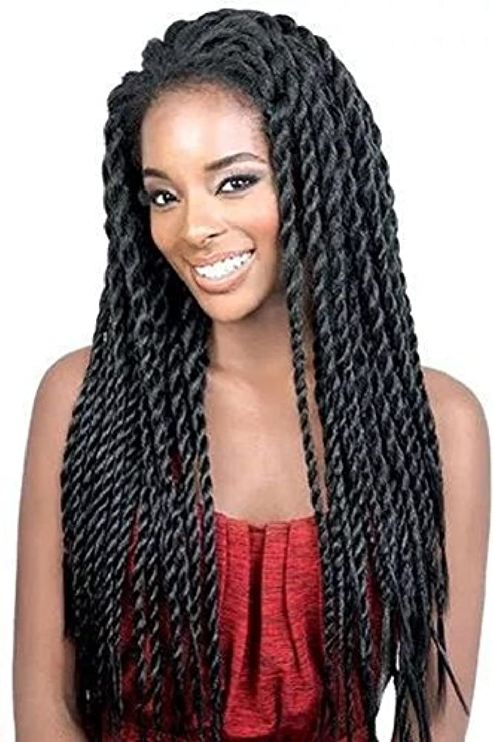 Synthetic Braided Lace Front Wigs African American Twist Braids Wigs for Black Women Natural Color (22 Inch)