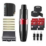 GHHYS Kit de pluma de máquina de tatuaje, kit de tatuaje casero con batería de litio inalámbrica, control de 12 niveles, kit de bolígrafo de tatuaje mínimo de vibración (7-12V), para profesionales