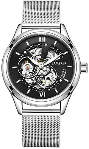 Hombres s automático reloj mecánico banda de malla de acero inoxidable hombres reloj s moda esqueleto impermeable azul 2