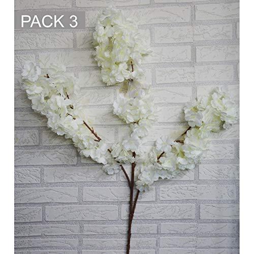 HOGAR Y MAS Flores Almendro Artificiales decoración jarrones Set de 3, Ramas Flores de Interior Decorativas 100 cm - Blanco