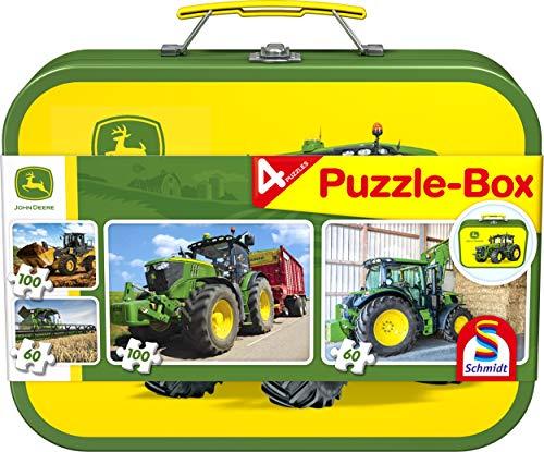 Schmidt Spiele 65497 John Deere, Traktor, 4 Kinderpuzzle im Metallkoffer, 2x60 und 2x100 Teile