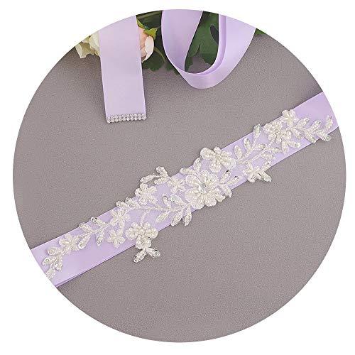 Eastery Damen Hochzeits Gürtel Glitzer Rhinestone Taillengürtel Braut Blumen Belt Elegante Einfacher Stil Exquisite Hübsch Dekorativen Kleider Damengürtel (Color : Lavendel, Size : One Size)