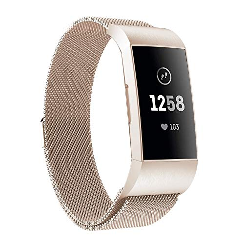 GUPENWC for Fitbit Charger 3 Metall magnetischen Metalluhrenarmband (schwarz) (Farbe : Champagne Gold)