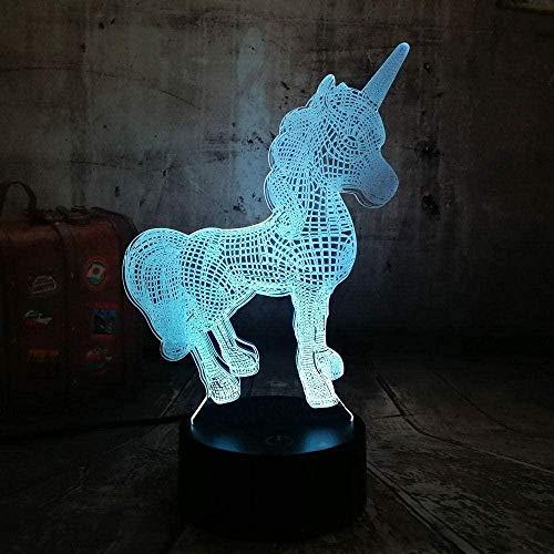 DXJA HCDZF Unicornio romántico lámpara 3D LED lámpara de mesa cambio de color luz de la noche decoración lustre vacaciones novia niños juguetes 3D noche luz 16 colores