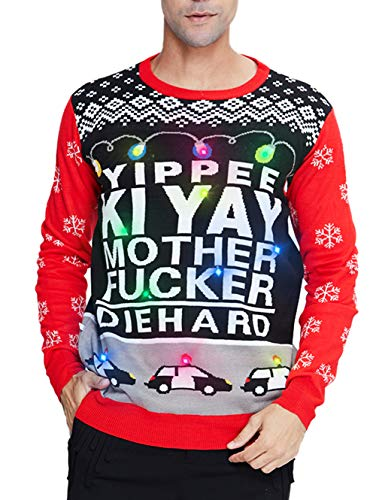 uideazone Men's Led Ugly Christmas Sweater Light Up Jumper Snowflake Graphic Long Sleeve Knitted Pullover Jumper for New Year Party Celebration