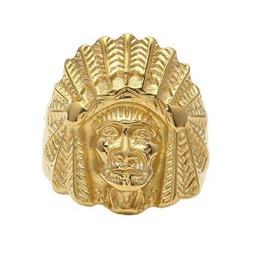 Aovr Cool uomo 18K placcato oro giallo hip hop capo indiano Cubano anelli Shine Club, base placcata in oro, 22, cod. C-18