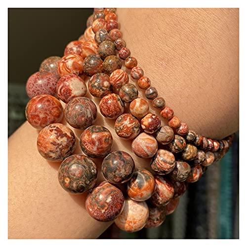 JSJJPLM Ágata Natural Beads de Piedra Natural 4-10mm Aquamarinas Lava Opal Cuarzo Rosa Tiger Ojo Moonstone Redondo Perlas Redondas para Joyería Que Hace Bricolaje Pulsera