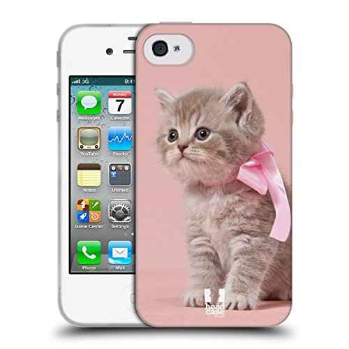 Head Case Designs Gattino con Arco Rosa Gatti Cover in Morbido Gel Compatibile con Apple iPhone 4 / iPhone 4S