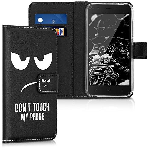 kwmobile Wallet Hülle kompatibel mit Wiko Harry - Hülle Kunstleder mit Kartenfächern Stand Don't Touch My Phone Weiß Schwarz
