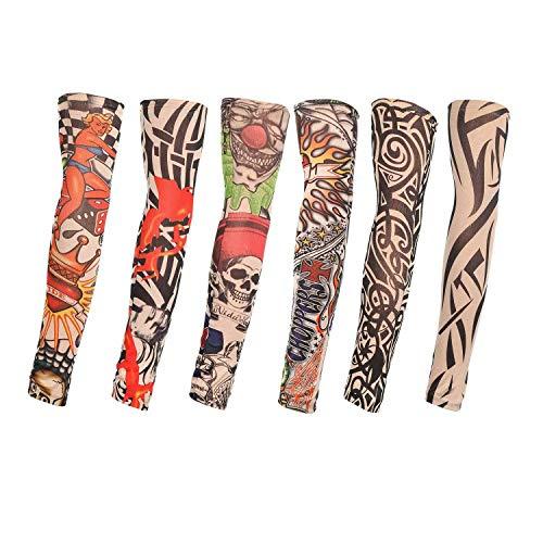 TAGVO Manicotti Finti per Tatuaggi, 6 Pezzi Manicotti per Braccia in Nylon per Moda Manicotti per Sport all'Aria Aperta Traspiranti Soffici parapioggia per Asciugatura Rapida Manicotti Elastici