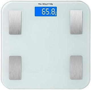 HYY-YY Báscula de pesaje Bluetooth, báscula de baño, pantalla retroiluminada inteligente, peso, grasa corporal, músculo, masa, Bmi Max 180 kg, color blanco