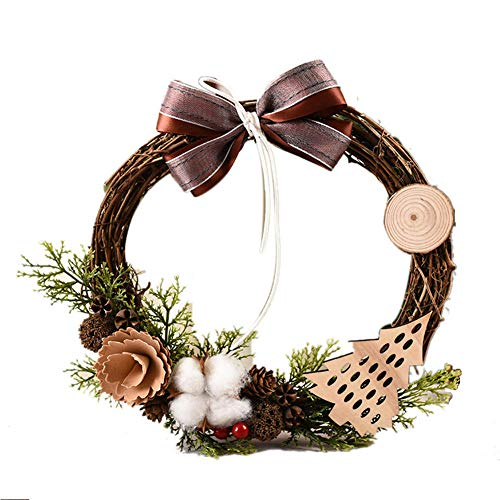 QAZXS Christmas Wreath Christmas Decorations Creative Vine Ring Pendant Ornaments Rattan Xmas Garland Door Hanging