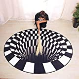 Round Carpet, Area Rug Floor Mat, 3D Mat Rug Swirl Print Optical Illusion Floor Pad, Checkered Vortex Optical Illusions Non Slip Area Rug, for Living Dinning Room Bedroom Kitchen,60cmX60cm