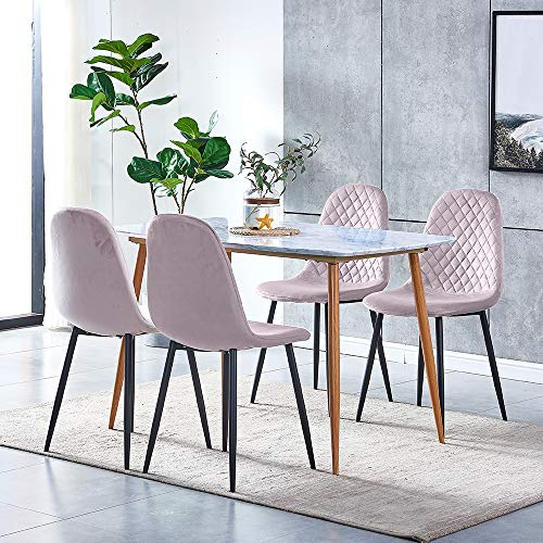 Ansley&HosHo 5 Pieces Dining Room Table and 4 Pink Velvet Chairs Set, Wood Marble-like Kitchen Table with 4 Occasional Velvet Chairs Black Metal Legs for Small Dinette Apartment Space Saving