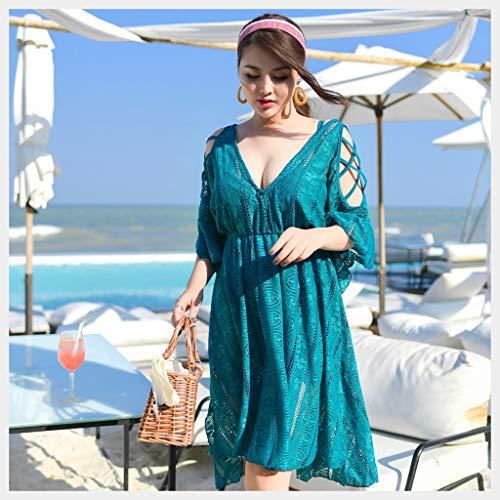 Maillot de bain grande taille pour femme à l'obésité Entraînement fin Leisure Spa Comprend les viandes Conservateur Siamese Vacances Longue Robe de la Jupe Bikini 6XL bleu