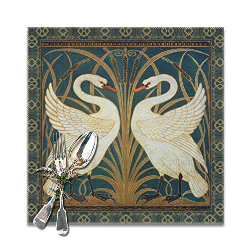 Perfect household goods Walter Crane Swan, Rush and Iris Art Nouveau Trivet Placemats for Dining Table,Washable Placemat Set of 6, 12x12 inch