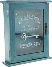 F Fityle Gabinete De Almacenamiento De Llaves De Madera Vintage con Ganchos para Colgar, 21x6x25cm. - Azul, Individual