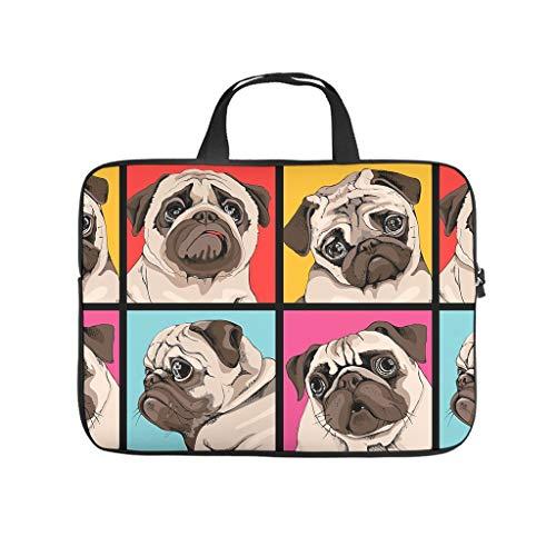 Dog Grid Pug 3D Print Laptop Bag Protective Case Soft Neoprene Laptop Case Cute Tablet Bag Sleeve Case for Boyfriend Girlfriend