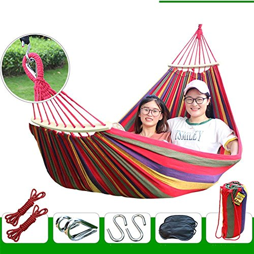 XHHWZB Easy Eagle Hamacas Anti-Rollover Travel Camping Canvas Hamaca al Aire Libre Rainbow Stripes Swing Enviar Tie Rope + Bag (78.74'x39.37 Double Red Stripes) (Color : Red)