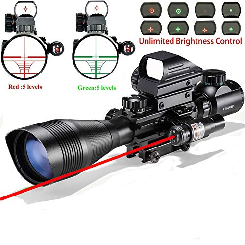 Rifle Scope Combo C4-12x50EG Dual Illuminated with Laser sight 4 Holographic Reticle Red/Green Dot for Weaver/Rail Mount
