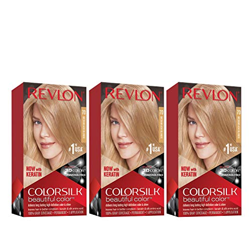 Revlon Colorsilk Beautiful Color Permanent Hair Color with 3D Gel Technology & Keratin, 100% Gray Coverage Hair Dye, 70 Medium Ash Blonde, 4.4 oz (Pack of 3)