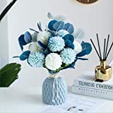 FLCSIed Flores artificiales vintage crisantemo floral de eucalipto flores de seda para novia ramo de boda mesa centro de mesa decoración del hogar (jarro no incluido) (azul)