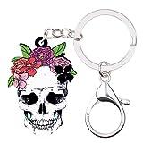 JIANDONG Flor de acrílico Original de Halloween de la Sonrisa del Esqueleto del cráneo Llavero llaveros Bolsa de joyería for Las Muchachas de Las Mujeres encantos Holder
