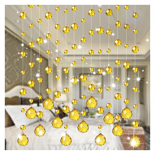 Cortina de Cuentas de Hilo de Cristal, Panel Decorativo Cortinas de Hilos para Puertas Cortina Feng Shui para Puertas, Ventanas y separación de Habitaciones Interior o Exterior Colorido