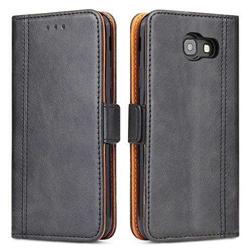 Bozon Galaxy A3 2017 Hülle, Leder Tasche Handyhülle für Samsung Galaxy A3 (2017) Schutzhülle mit Ständer & Kartenfächer/Magnetverschluss (Schwarz-Grau)