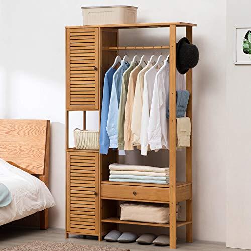 JHYMJ kledingrek eenvoudig kledingkast rek met ladenservice tas stand-home massief houten kledinghangers