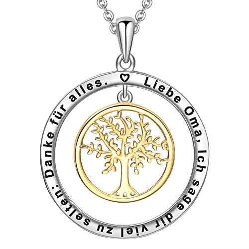 LOVORDS Damen Halskette Gravur 925 Sterling Silber Kreis Lebensbaum Kette Anhänger Geschenk für Oma