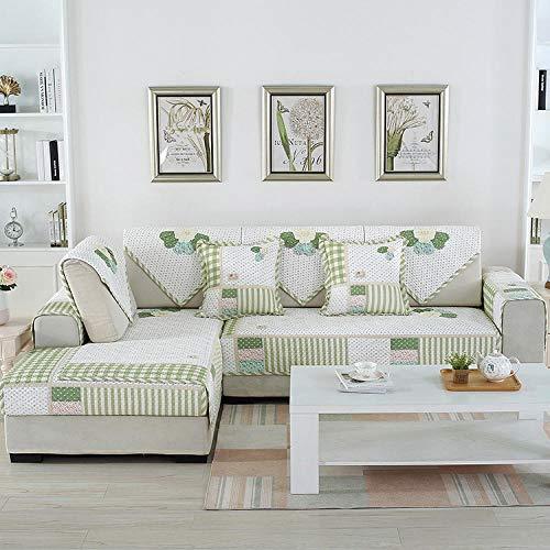 QFYD FDEYL Sofá Funda con Funda En Forma De L Estiramiento,Parche Antideslizante de Cuatro Estaciones, cojín de sofá de algodón-Verde_70 * 210, Sofa Estampadas Cubre Sofa Universal