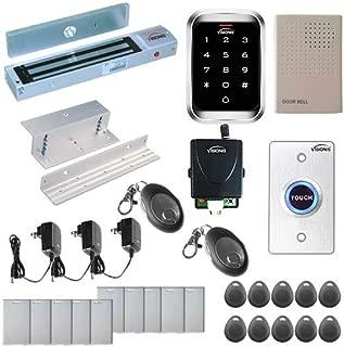 Visionis FPC-5292 One Door Access Control Inswinging Door 600lbs Maglock with VIS-3000 Outdoor IP68 Weatherproof Keypad/Reader Standalone EM Mifare no Software 2000 Users Wireless Receiver Kit