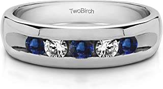 TwoBirch 0.5 Ct. Wide Channel Set Men's Ring with Open End Design In 10K Gold With Sapphire and Diamonds (G,I2)