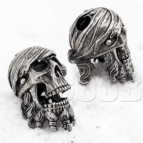 CooB EDC Paracord Bead Beads, Charm, Beard Bead Pirate Blackbeard Skull. Metal Hand Made Paracord Lanyard Beads Charms for Knife Lanyard Accessories, Beard Beads 1Pcs/Lot (Pirate Jack Sparrow)